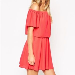 asos off the shoulder dress with short sleeves